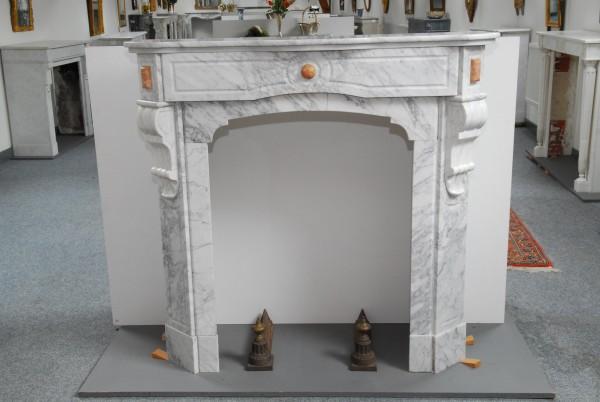 weiß/bernsteinfarbener marmorkamin - jugendstil-