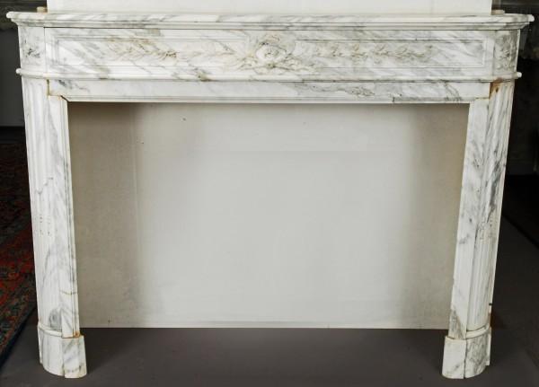 stil: louis XVI,  weiß-grauer  marmorkamin