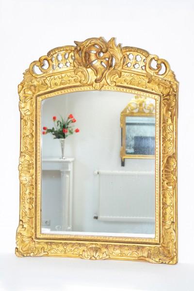 antiker spiegel  pastellfabene blumenverzierung 18. jahrhundert