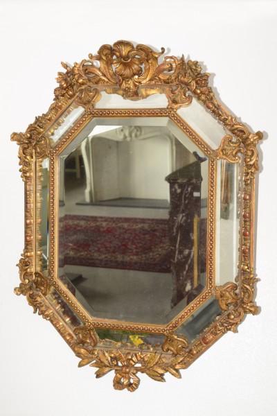 achteckiger fein gearbeiteter goldener spiegel